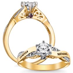Couple's Expressions Gold-Plated Cubic Zirconia and Diamond Ring