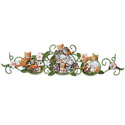 Curious Kittens Wall Decor Porcelain Plaques