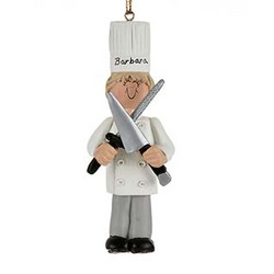 Personalized Female Chef Christmas Ornament