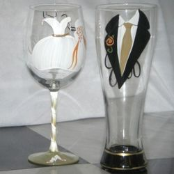 Bride and Groom Hand Painted Wine or Pilsner Glasses