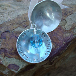 Something Blue Hand Stamped Bridal Bouquet Locket