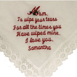 """To Wipe Your Tears"" Personalized Hanky for Mom"