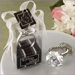 Crystal Engagement Ring Keychain Wedding Favor Set