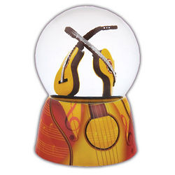 Amazing Guitars Musical Water Globe with Ceramic Base