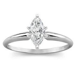 1.00 Ct. D VS2 Marquise Diamond Solitaire Ring