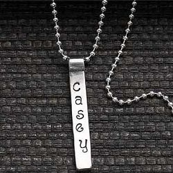 Personalized Stamped Name Bar Pendant Necklace