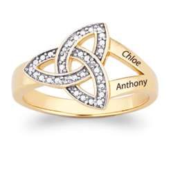 Couple's Trinity Knot Diamond Name Ring