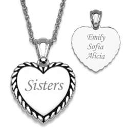 Silver Plated Sisters Rope Framed Heart Necklace