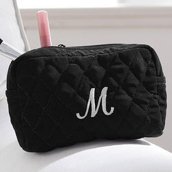 Embroidered Initial Quilted Make-Up Bag