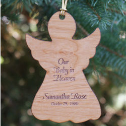 Baby in Heaven Engraved Memorial Wood Ornament