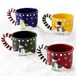 Personalized Snowman Candy Cane Mugs