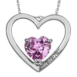 Created Pink Sapphire Heart Pendant Necklace with Diamonds