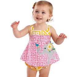 Elephant Applique All-in-One Baby Dress