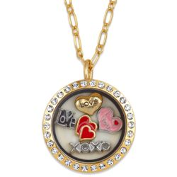 Goldtone Round Rhinestone Love Locket with Heart Charms
