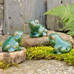 Ceramic Frog Sculptures Trio