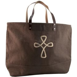 Embroidered Cross Jute Bag