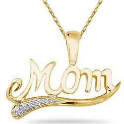10k Yellow Gold and Diamond Mom Pendant