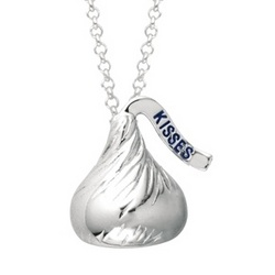Sterling Silver Medium 3-D Hersheys Kiss Necklace