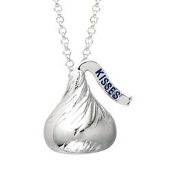 Sterling Silver Medium 3-D Hersheys Kiss Necklace