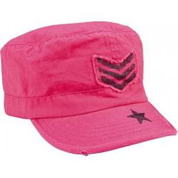 Pink Vintage Adjustable Fatigue Cap with Star and Stripes