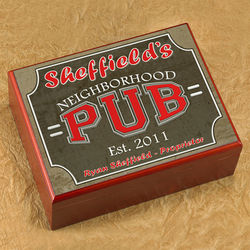 Personalized Cigar Humidor with Neighborhood Pub Image