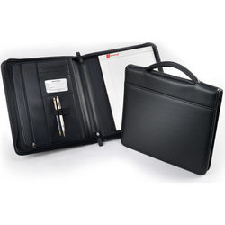 Executive Brief Leather Padfolio with Carry Handle
