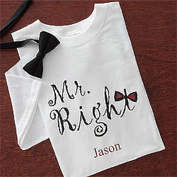 Personalized Mr. Right Wedding T-Shirt