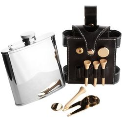 Black Leather Golfer Hip Flask Set