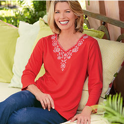 Women's 3/4 Sleeve Embroidered V-Neck Tee