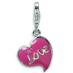 Sterling Silver Pink Love Heart Charm