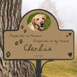 Pawprints in Heaven Pet Memorial Photo Magnet