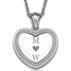 Silver Plated Beaded Framed Couple's Initial Heart Necklace