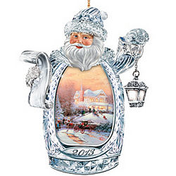 2013 Edition Thomas Kinkade Santa Crystal Ornament