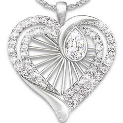 Cherished Memories White Topaz Teardrop Pendant Necklace