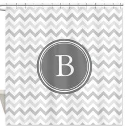 Personalized Monogram Gray Chevron Pattern Shower Curtain