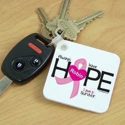 Personalized Breast Cancer Survivor Ribbon Heart Key Chain