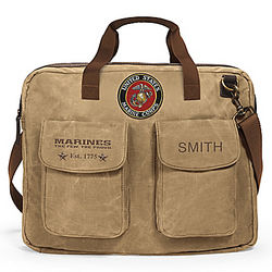 USMC Canvas Messenger Bag with Personalized Name