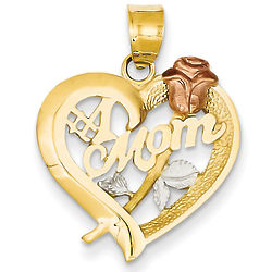 #1 Mom Heart Pendant with Rose in Tri-Tone 14K Gold