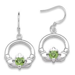 Sterling Silver Birthstone Claddagh Earrings