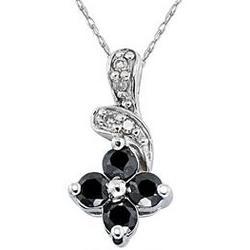 Black & White Diamond Flower Pendant in White Gold