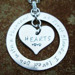I Loved You with a Thousand Hearts Hand Stamped Necklace