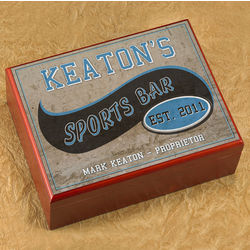 Personalized Cigar Humidor with Sports Bar Image
