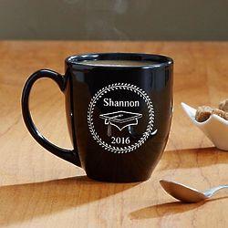Personalized Black Bistro-Style Graduation Mug