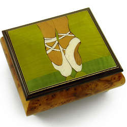 Ballerina's Pointe Shoes Wood Inlay Musical Jewelry Box