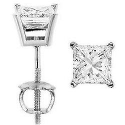 4.00 Ct. E I3 Princess Diamond Stud Earrings