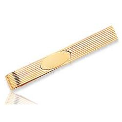 Engravable 14K Yellow Gold Linear Style Carved Tie Bar