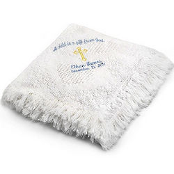 Boy's White Mini Heart Blanket with Cross Design
