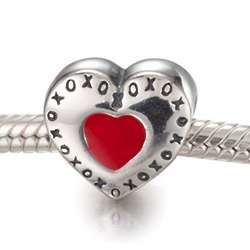Sterling Silver Red XOXO Heart Bead