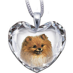 Close to My Heart Crystal Pomeranian Pendant Necklace