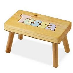 Personalized Kid's Pastel Puzzle Name Stool